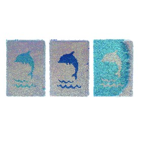 Записная книжка подарочная формат А5 80 листов, линия, МИКС Пайетки дельфин