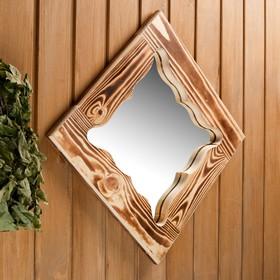 """Зеркало резное """"Бабочка"""", сосна, обожжённое, 40×40 см"""