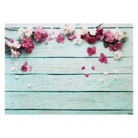 """Фотофон винил """"Белые и розовые цветы на голубых досках"""" 80х125 см"""