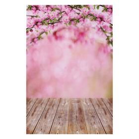 """Фотофон винил """"Цветущий розовый сад"""" стена+пол 80х125 см"""