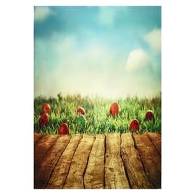 """Фотофон винил """"Пасхальные яички на траве"""" стена+пол 80х125 см"""
