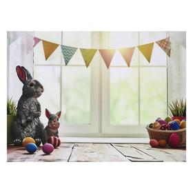 """Фотофон винил """"Пасхальные кролики"""" 80х125 см"""