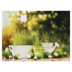 """Фотофон винил """"Крашенные яйца и горшочки с травой"""" 80х125 см"""