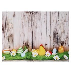 """Фотофон винил """"Петушок и раскрашенные яйца"""" 80х125 см"""
