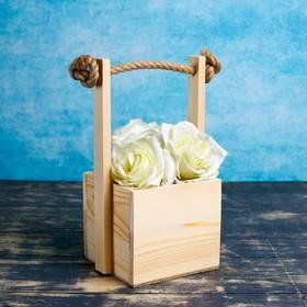 """Кашпо деревянное 12×12×11(25) см """"Ажур"""", ручка верёвка, натуральный Дарим Красиво"""