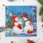 """Napkin paper """"Two Snowmen"""", 15 PCs, 2 layers"""