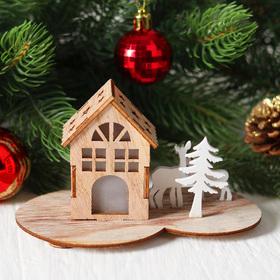 "Новогодний декор с подсветкой ""Праздничный домик"" 7х11,5х8,7 см"