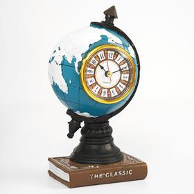 "Часы настольные ""Глобус"", дискретный ход, 20 х 10 см, d=6 см"
