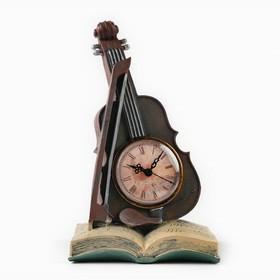 "Часы настольные ""Скрипка"", дискретный ход, 33 х 15 см, d=8 см"