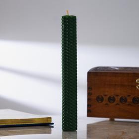 Свеча из зелёной вощины с базиликом «Искра удачи», 2,3×20 см