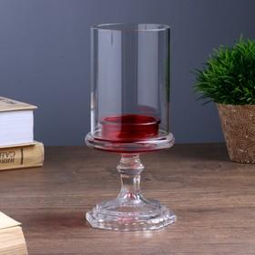 "Подсвечник стекло на 1 свечу ""Бокал на ножке"" красный 18х8,5х5 см"
