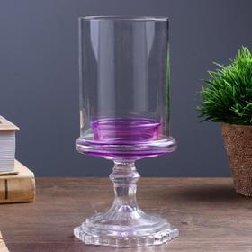 "Подсвечник стекло на 1 свечу ""Бокал на ножке"" фиолетовый 18х8,5х5 см"