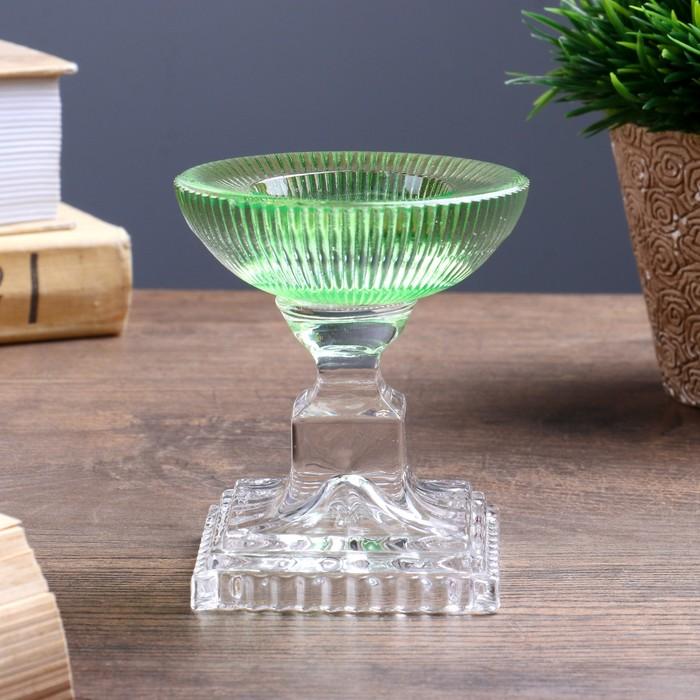 Подсвечник стекло на 1 свечу ''Чаша с полосками'' зелёный 8,5х7,5х7,5 см   4543412