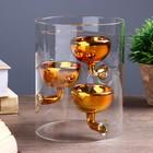 """Подсвечник стекло на 3 свечи """"Цилиндр с чашами"""" прозрачный с золотом 15х11,8х11,8 см"""