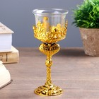"Candle holder glass 1 plastic candle ""Heart"" a stemmed glass gold 14х6х6 cm"