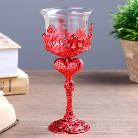 Candle holder glass, plastic 1 candle Heart shape glass on stem red 14x6x6 cm