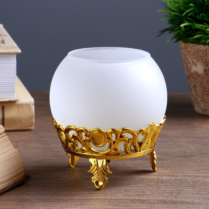 "Подсвечник стекло, пластик на 1 свечу ""Шар на подставке"" золото 9х8х8 см"