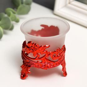 """Подсвечник стекло, пластик на 1 свечу """"Цветы"""" красный 6,5х6х6 см"""
