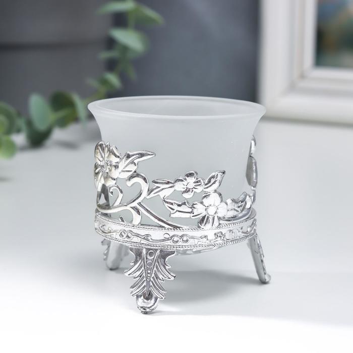 Подсвечник стекло, пластик на 1 свечу ''Сердце из листьев сердце'' серебро 6,5х6х6 см   4551323