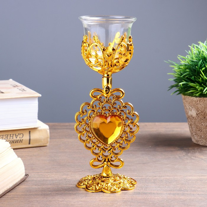 Подсвечник стекло, пластик на 1 свечу ''Ажурное сердце'' бокал на ножке золото 18х7х6,5 см   4551326