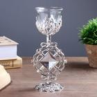 """Подсвечник стекло, пластик на 1 свечу """"Ажурный ромб"""" бокал на ножке серебро 18х7х6,5 см"""