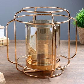 """Подсвечник металл, стекло на 1 свечу """"Цилиндр"""" золото 17,5х20,5х20,5 см"""