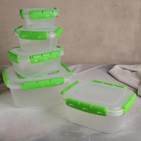 Set of containers sealed №1 lunch boxes, 5pcs 0.38l; 0.8l; 1,5l; 2,5l; 3,9l