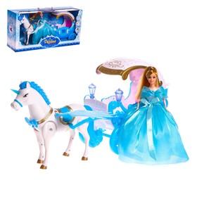 Карета для кукол «Зимнее волшебство» с куклой, лошадка ходит, световые и звуковые эффекты