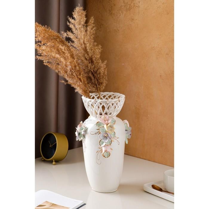 """Ваза настольная """"Елена"""", цветная лепка, плетение, 33 см, микс, керамика - фото 7460341"""