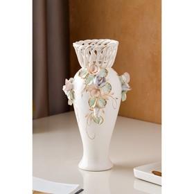 """Ваза настольная """"Кокетка"""", керамика, цветы, цветная лепка, плетение, золотистая роспись, 29 см, микс - фото 7460348"""