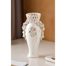 """Ваза настольная """"Кокетка"""", керамика, цветы, цветная лепка, плетение, золотистая роспись, 29 см, микс - фото 7460349"""
