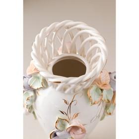 """Ваза настольная """"Кокетка"""", керамика, цветы, цветная лепка, плетение, золотистая роспись, 29 см, микс - фото 7460350"""