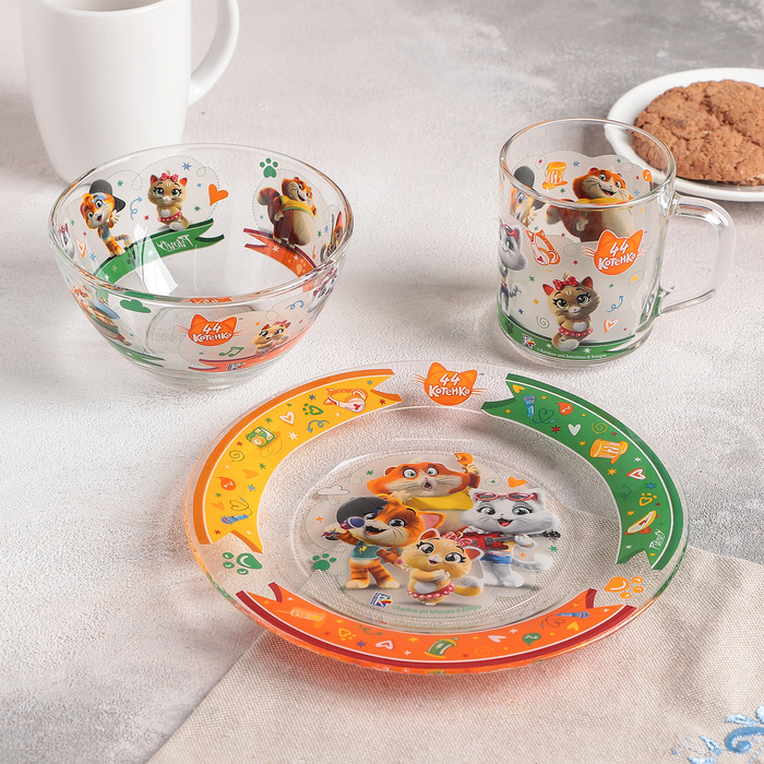 Набор посуды детский «44 котёнка», 3 предмета