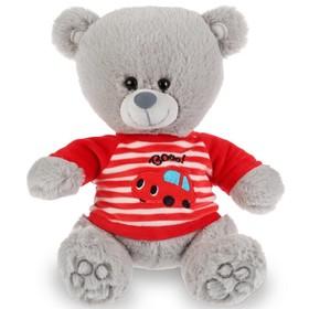 Мягкая игрушка «Медведь в футболочке с машинкой» 22 см, воспроизводит стихи А.Барто