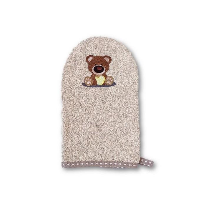 Рукавичка для купания малыша Baby «Мишка», коричневая