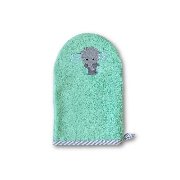 Рукавичка для купания малыша Baby «Слонёнок», бирюзовая