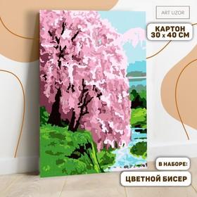 Картина по номерам с дополнительными элементами «Сакура на берегу», 30х40 см