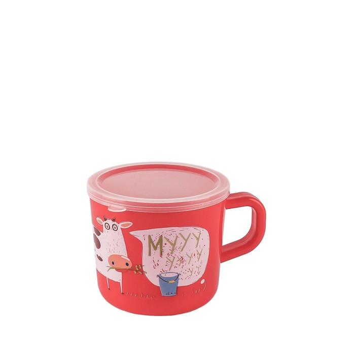 Кружка с ручкой и крышкой Happy Baby, цвет МИКС, 240 мл