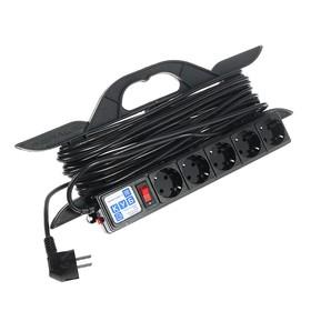 Удлинитель на рамке PowerCube, 5 розеток, 10 м, 16 А, 3500 Вт, черный