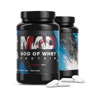 The MAD GOD OF protein WHEY, bubble-gum 1000 g .