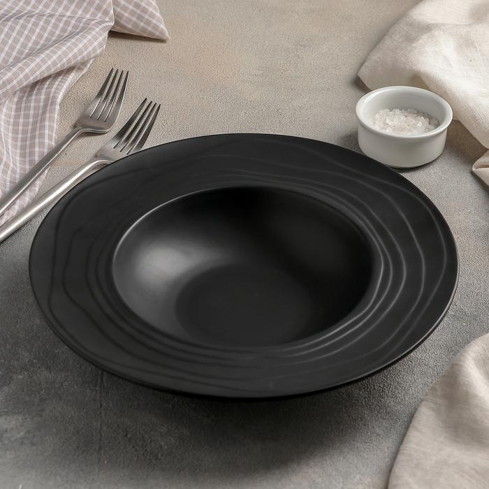Тарелка для пасты Black, d=25 см, 580 мл, цвет чёрный - фото 887037