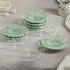 """Coffee set 12 pieces """"Jane"""" 6 cups 90 ml 8,5x5,5x5,3 cm, 6 saucers 11.5 cm, color mint"""