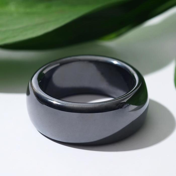 """Кольцо """"Гематит"""" гладкий, 1см, цвет серый, размер МИКС"""