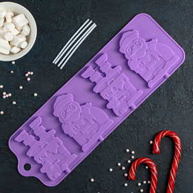Форма для леденцов и мороженого Доляна «Дед Мороз», 36×12 см, 4 ячейки, цвет МИКС