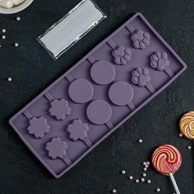 Форма для леденцов и мороженого «Вкусная сладость», 26,5×11,5 см, 12 ячеек (3,5×3,5 см), цвет МИКС