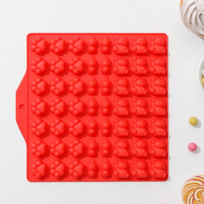 Форма для мармелада Доляна «Мяу», 17,5×18 см, 56 ячейки, цвет МИКС - фото 893252