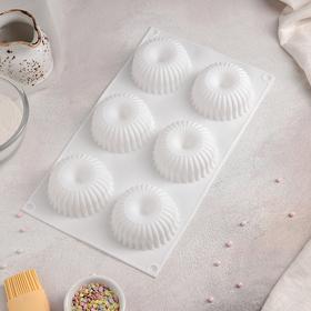 Форма для муссовых десертов и выпечки Доляна «Снежная гора», 29,8×17,2 см, 6 ячеек, цвет белый