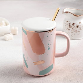 """Ceramic mug with lid and spoon """"Annabelle"""" 350 ml, 10,5x8x12 cm, pattern MIX"""