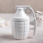 "Mug with ceramic lid ""Grenade"" 420 ml, 11,5x8,5x15,5 cm, color white"