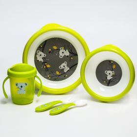 Набор детской посуды: тарелочки, поильник, столовые приборы, цвет зеленый